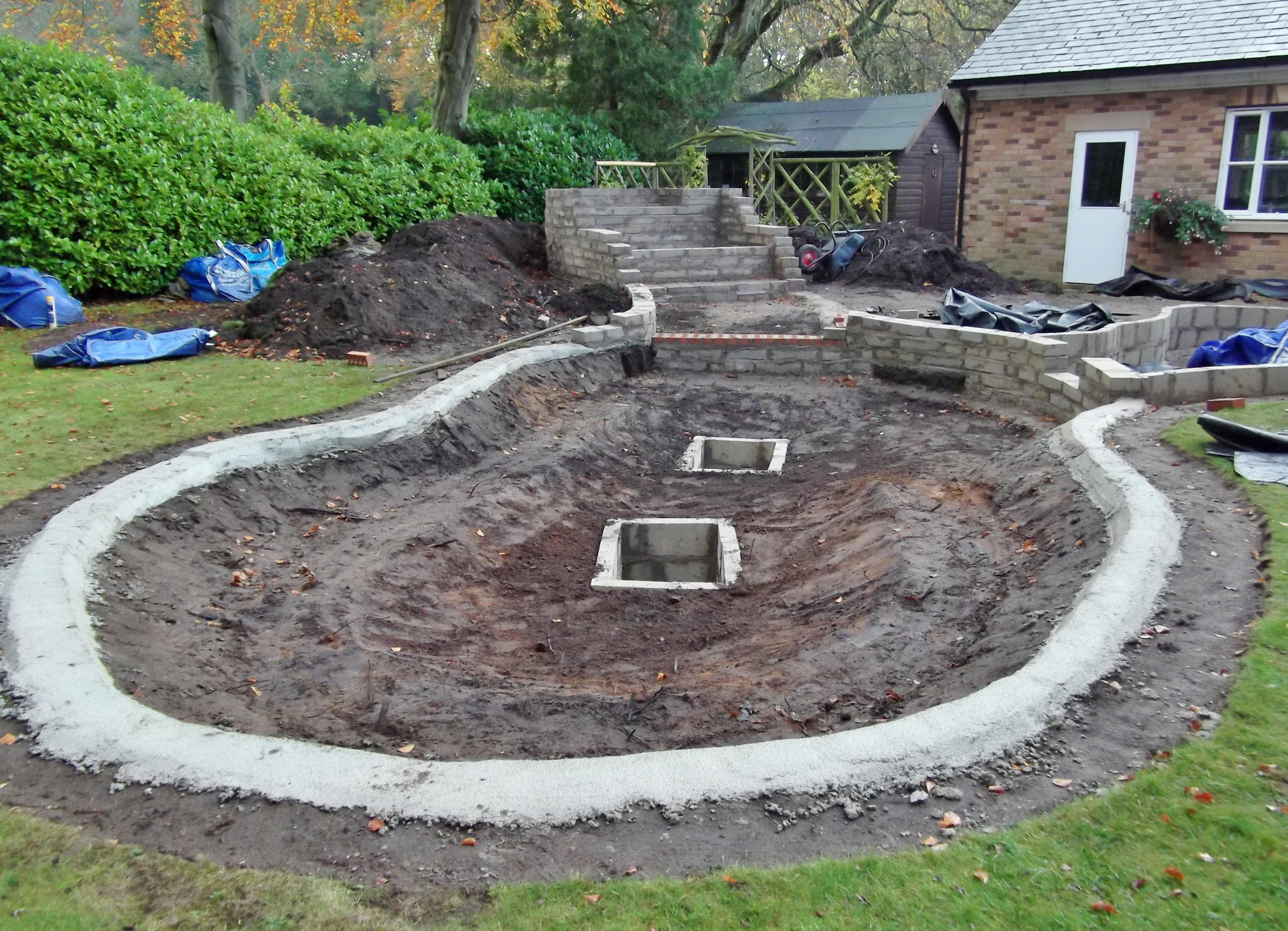 This one 39 s for wendy pond construction greenfingers for Garden pond construction