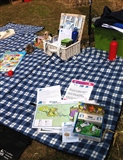 Spreading the word about our 'Wild heath picnic' in September at the Snape Village Fete 2014