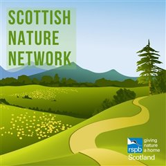 illustraited logo with hills and mountains which reads Scottish Nature Network