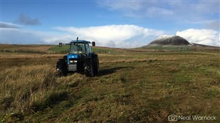 tractor mowing rush with snow capped Slemish mountain in the background
