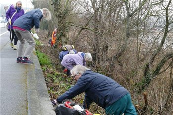 Volunteers litter picking