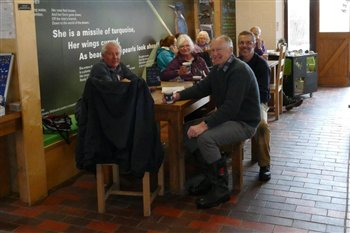 Volunteers enjoying a hot drink in the Centre