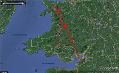 Map of Lia's final journey in Wales