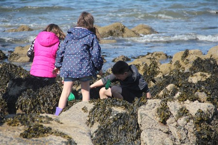 3 kids crouch amongst rocks