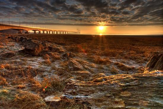 Severn Bridge at sunrise