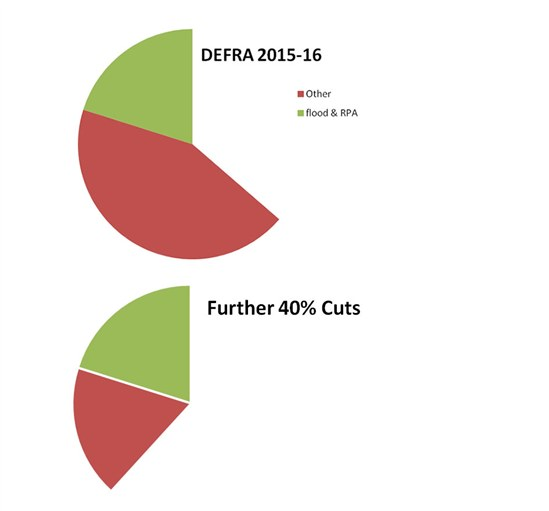 FIGURE 2: Pie charts representing net DEFRA cuts since 2010 in 2015 and 2020 after 40% cuts.