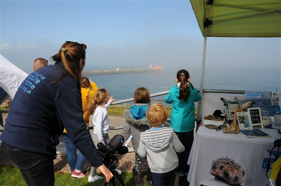 some children and an rspb staff member look out at the sea