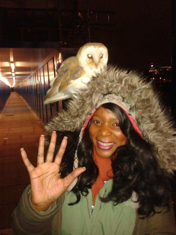 Andrea and barn owl at Blackfriars Bridge on the Southbank