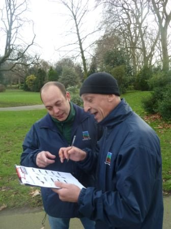Ian (left) and Col, keeping track of sightings.