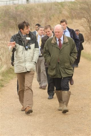 RSPB Conservation Director Martin Harper stepping-out at Rainham Marshes nature reserve with environment minsiter Jim Paice.