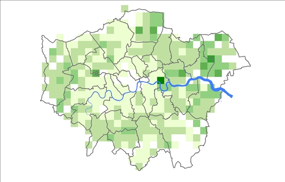 2002 survey results showing no sparrows in Central London