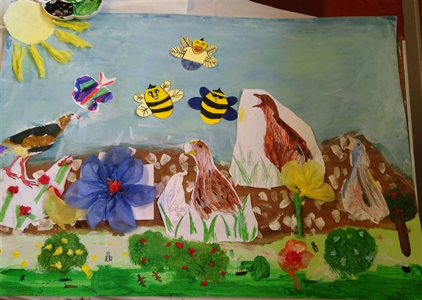 collage art with bees and corncrake